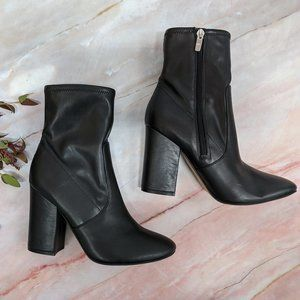 Marc Fisher Black Block Heeled Leather Boots